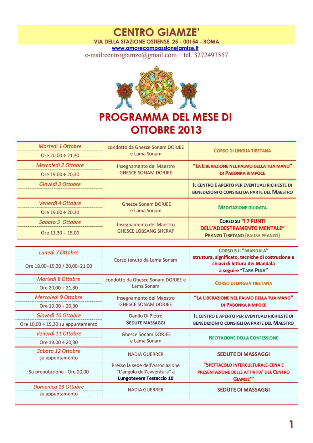 Calendario Tibetano.Calendario Attivita Ottobre Amore E Compassione Jamtse